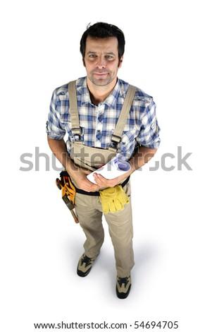 Workman holding a plan on white background - stock photo