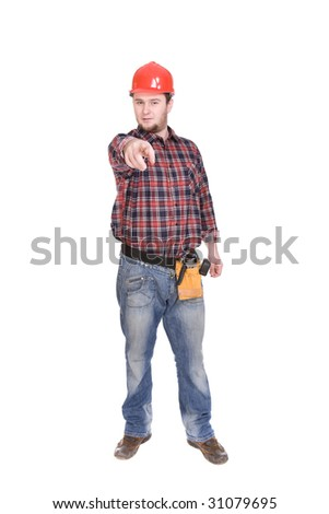workman isolated over white background - stock photo