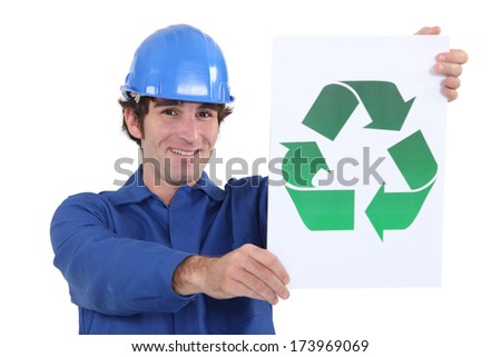 Workman with a recycle sign