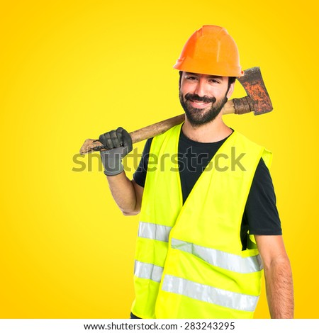 Workman with ax over white background
