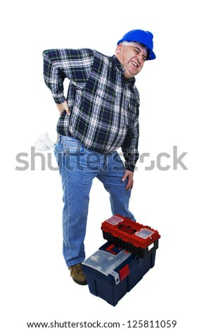 Workman with back pain on white background - stock photo