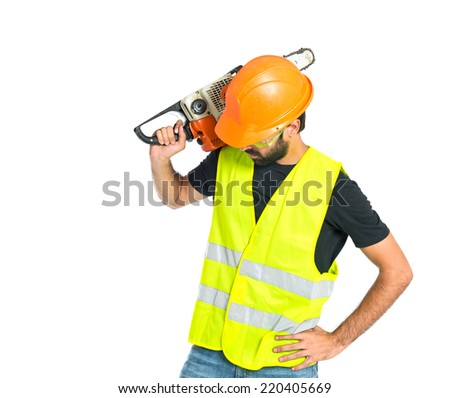 Workman with chainsaw over white background - stock photo