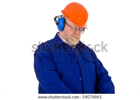 Workman with hearing protector - isolated on white background - stock photo