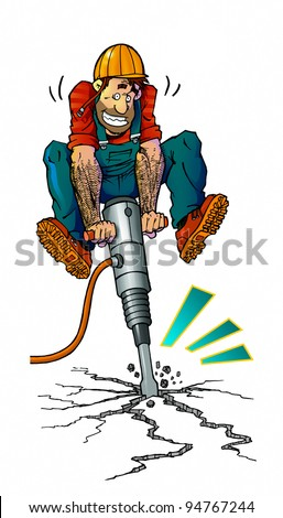 workman with jackhammer - stock photo