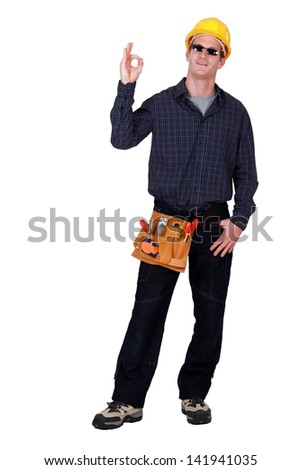 Workman with sunglasses - stock photo