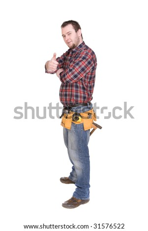 workman with tools over white background - stock photo