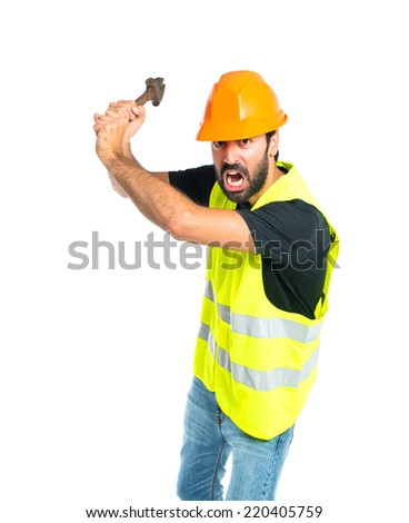 workman with wrench over white background