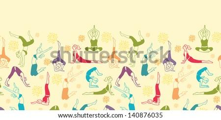 Workout fitness girls horizontal seamless pattern background raster - stock photo