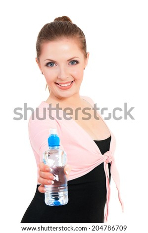 Workout fitness young woman with water bottle to quench thirst