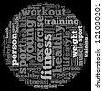 workout info-text graphics and arrangement concept on black background (word cloud) - stock