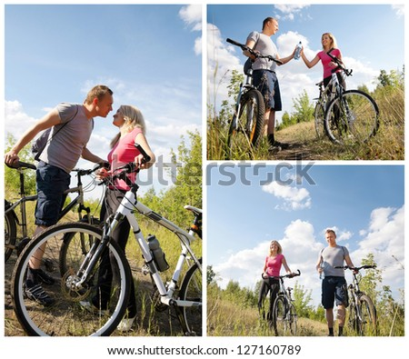 Workout: sporty happy couple riding bicycles - stock photo