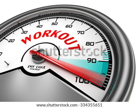 Workout to hundred per cent conceptual meter, isolated on white background - stock photo