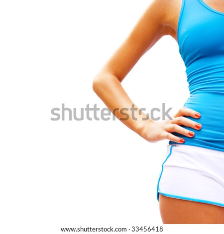 Workout woman on white, from a series of photos. - stock photo