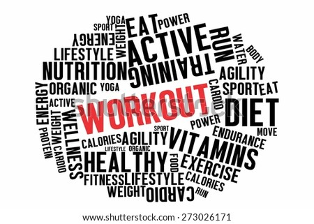 WORKOUT word on wordcloud concept - stock photo