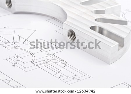 workpiece on a blueprint