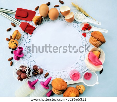 Workplace confectioner, food ingredients and accessories for making cupcakes ,business concept ,background for text or logo - stock photo