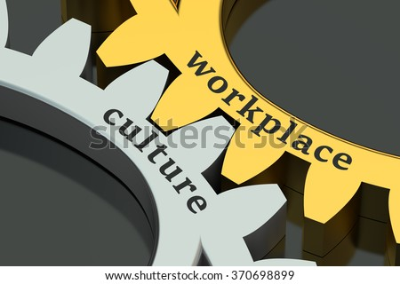 Workplace Culture concept on the gearwheels - stock photo