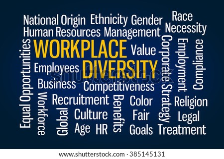 Workplace Diversity word cloud on Blue Background - stock photo
