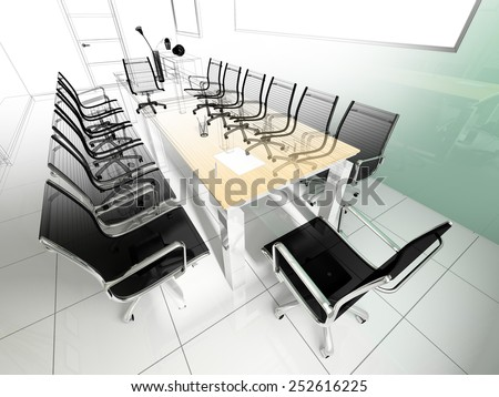Workplace for negotiations in modern office (3d rendering)