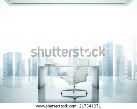 Workplace in front of panoramic window with city view - stock photo
