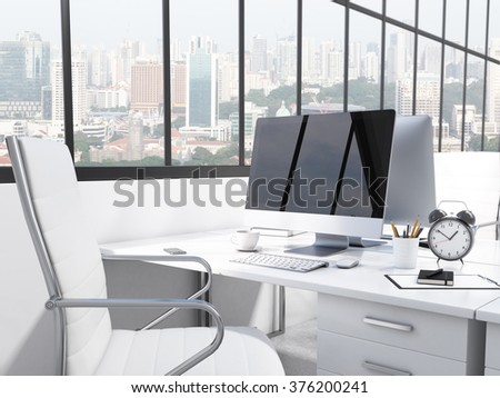 Workplace in the office, computer, keyboard, mouse, lamp, pencils, coffee on the table, white chair, window behind to the left. City view, side view. Concept of work. 3D rendering - stock photo