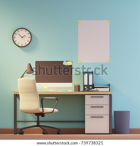 black light computer room cabinet interior furniture table office chair stock vector
