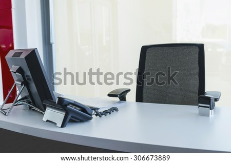Workplace. Modern workspace with phone and computer