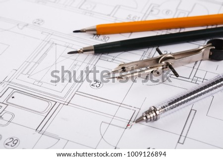 Workplace architect divider pencil ruler on stock photo royalty divider pencil and ruler on blueprint creating new architectural project malvernweather Gallery