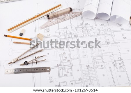 Workplace architect divider pencil ruler on stock photo image divider pencil and ruler on blueprint creating new architectural project malvernweather Gallery