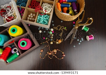 Workplace of jewellery  maker close-up - stock photo