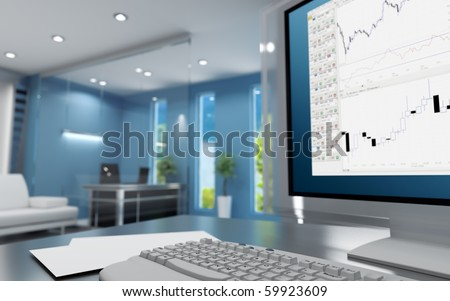 Workplace of the trader in modern cubicle with keyboard and monitor - stock photo