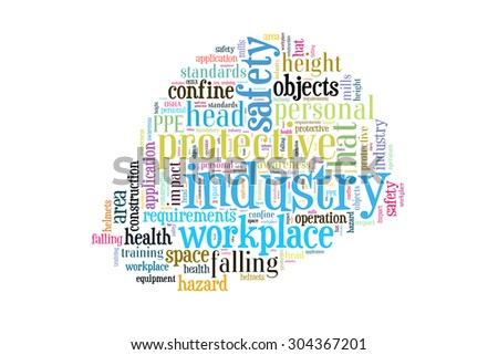 Workplace safety and health concepts. Head protection presented in word clouds.  - stock photo