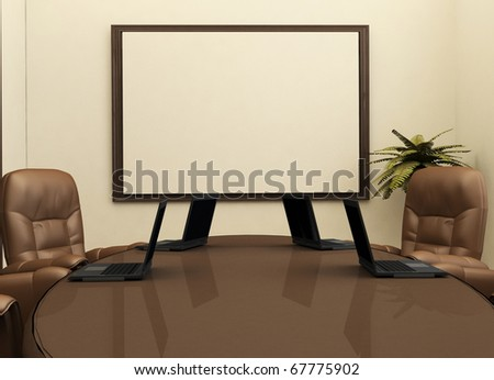 Workplace with computers in office interior. Desk - stock photo