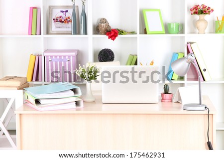 Workplace with laptop, close up - stock photo