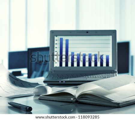 Workplace with laptop computer - stock photo