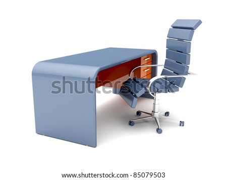 Workplace with minimalistic designed desk and blue chair - stock photo