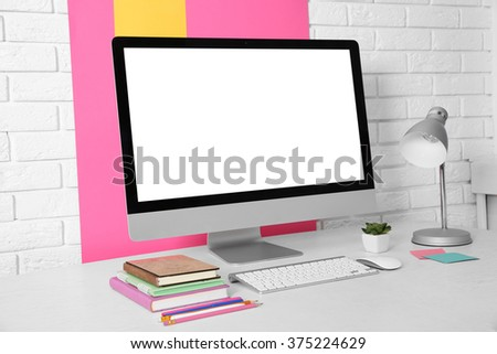 Workplace with modern computer, close up - stock photo