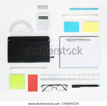 Workplace with office items and business elements on a desk. Concept for branding. Top view.  - stock photo