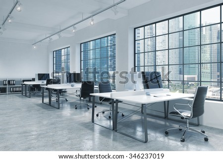 Workplaces in a bright modern loft open space office. Tables are equipped with modern computers; book shelves. Singapore panoramic view. A concept of a high quality consulting services. 3D rendering. - stock photo