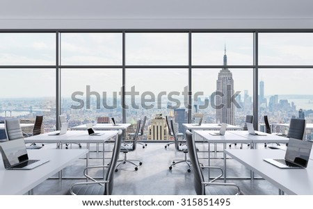 Office computer lab interior computers on stock illustration 465936917 shutterstock - Small office space nyc concept ...