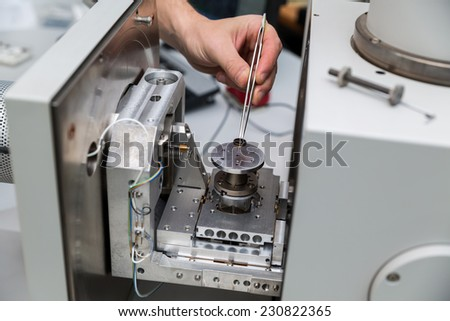 works with modern inverted microscope - stock photo