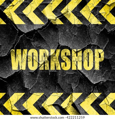 workshop, black and yellow rough hazard stripes - stock photo