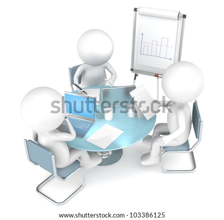 Workshop. 3D little human characters X3 working together. Business People series. - stock photo