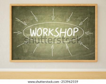 Workshop - 3d render illustration of text on green blackboard in a room.  - stock photo