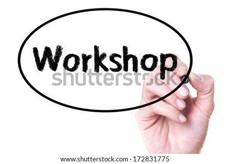 Workshop handwritten on glass - stock photo