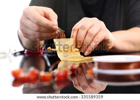 Workshop jewelery, working on an jewelry - stock photo