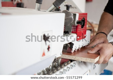 Workshop of a cabinmaker - working with wood - stock photo