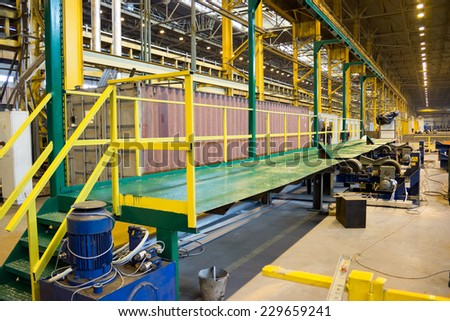 Workshop of an industrial pipe rolling plant - stock photo