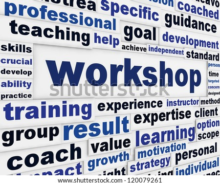 Workshop poster design. Professional seminar message background - stock photo