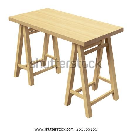 Workshop table isolated on white background - stock photo